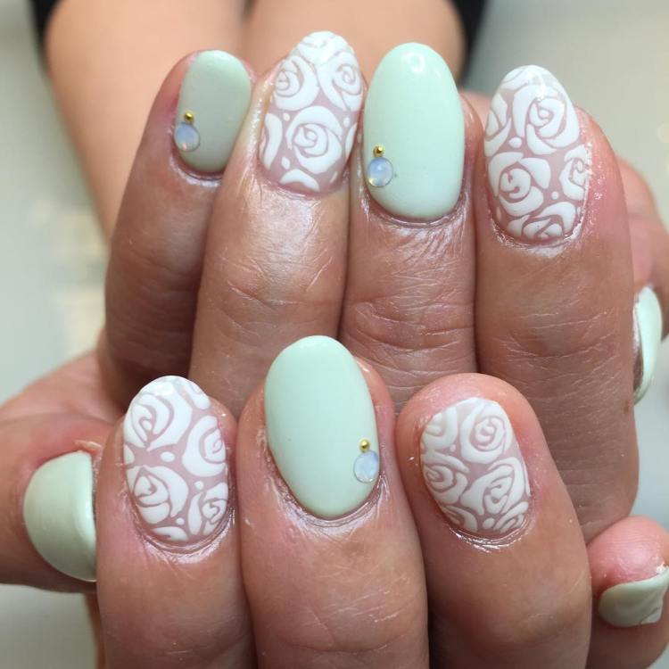 ... White Rose Nail Design ... - 47 Gorgeous Rose Nail Art Designs For Summer » EcstasyCoffee