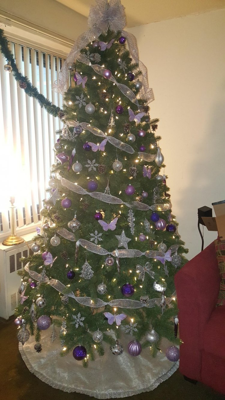 4 silver and purple christmas tree - Purple Christmas Decorations Ideas
