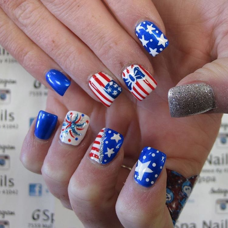May The Fourth Be With You French: 55 Amazingly Patriotic 4th July Nail Art Ideas