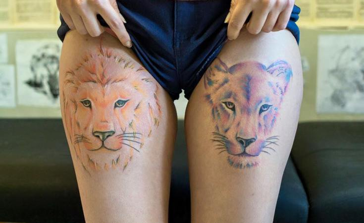Sun and moon #tattoo #lion #liontattoo #liontattoos #lioness #lionesstattoo #watercolor #watercolortattoo #lionwatercolor