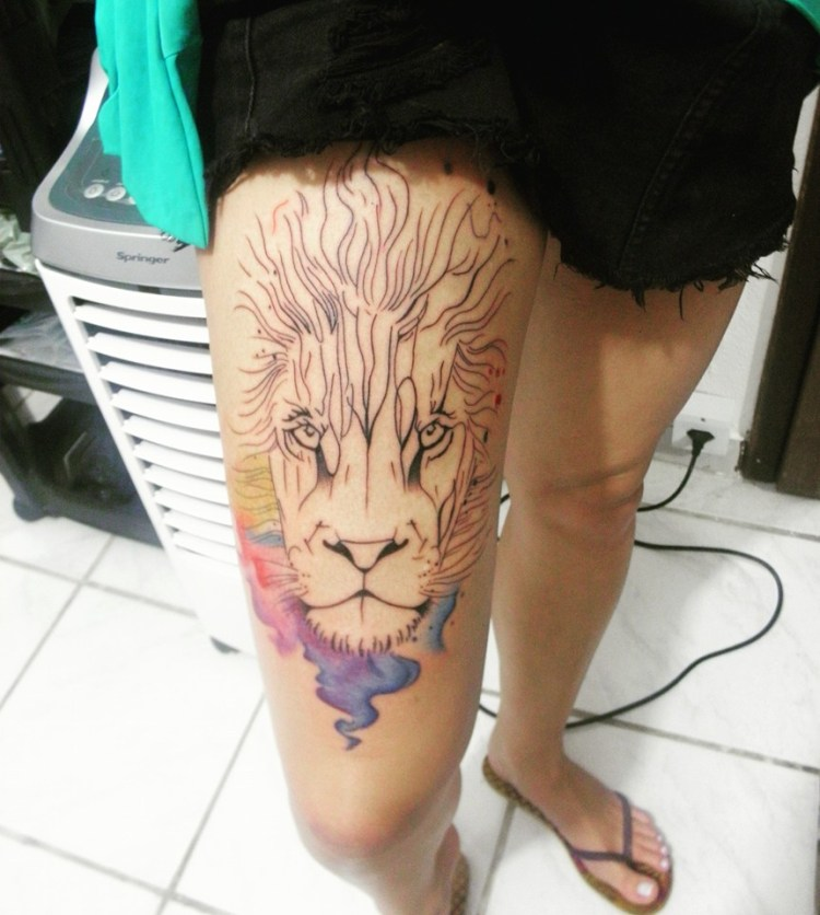 #watercolor #watercolortattoos #colorfultattoos #lion #liontattoos #love #job #1session #inprogress