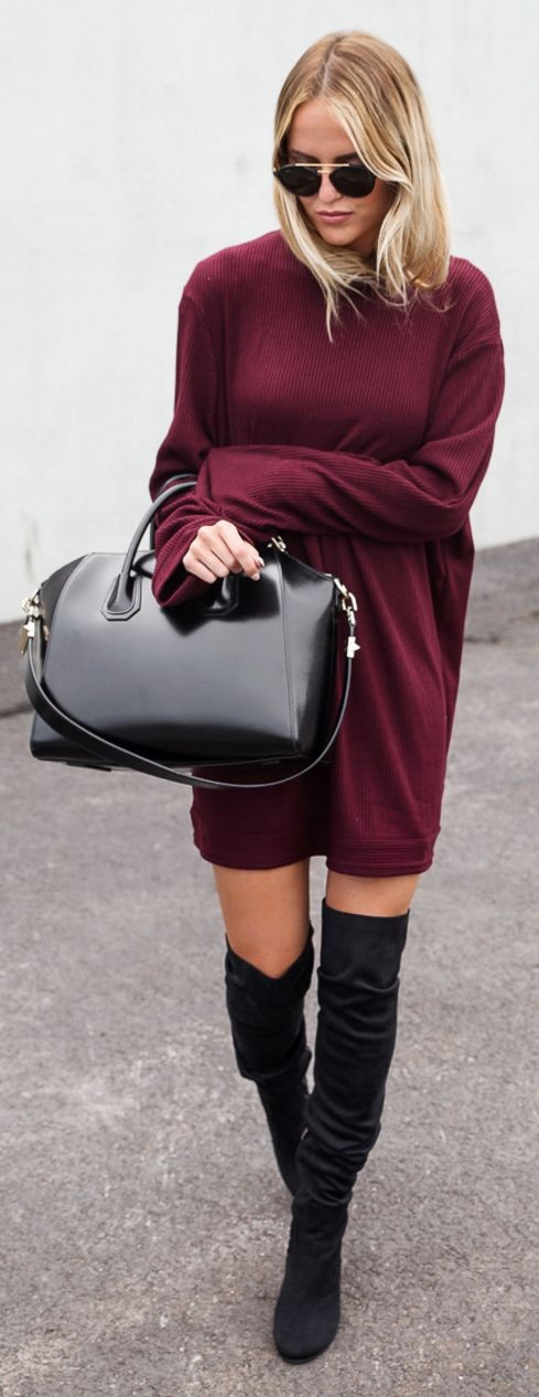 Burgundy Oversized + Black Overknees