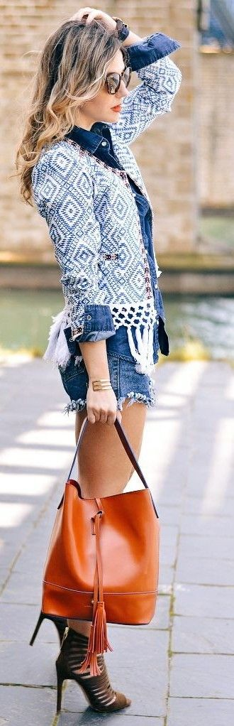 Ethnic Jacket + Cutoffs + Burning Orange Bucket Bag