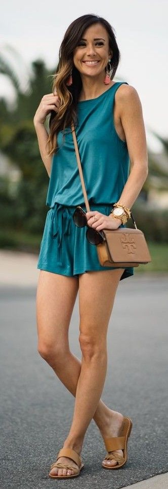 Green Romper + Sequins & Things