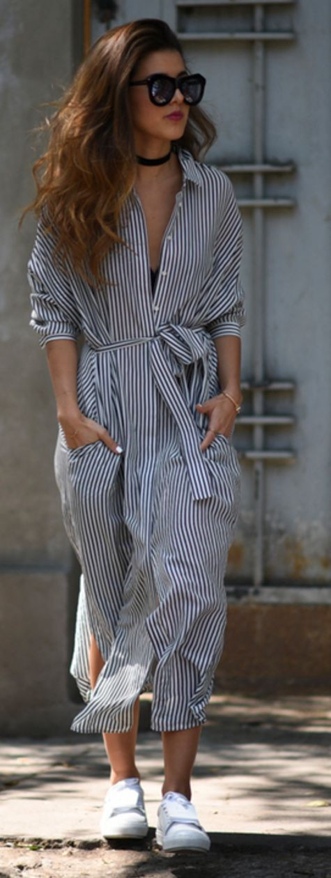 Maxi Stripe Shirt Dress