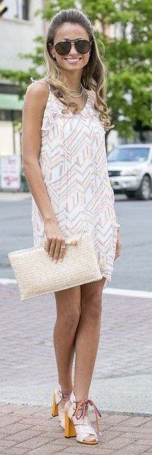 Pastel Print Little Dress + Color Block Sandals