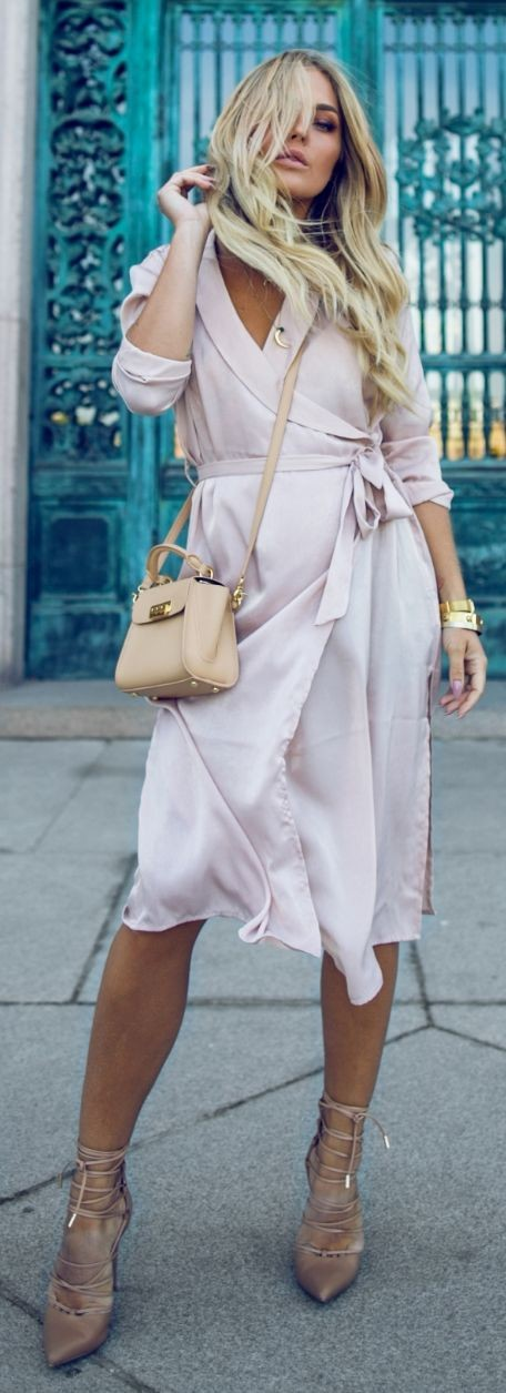 Powder Pink Dress + Pop Of Nude