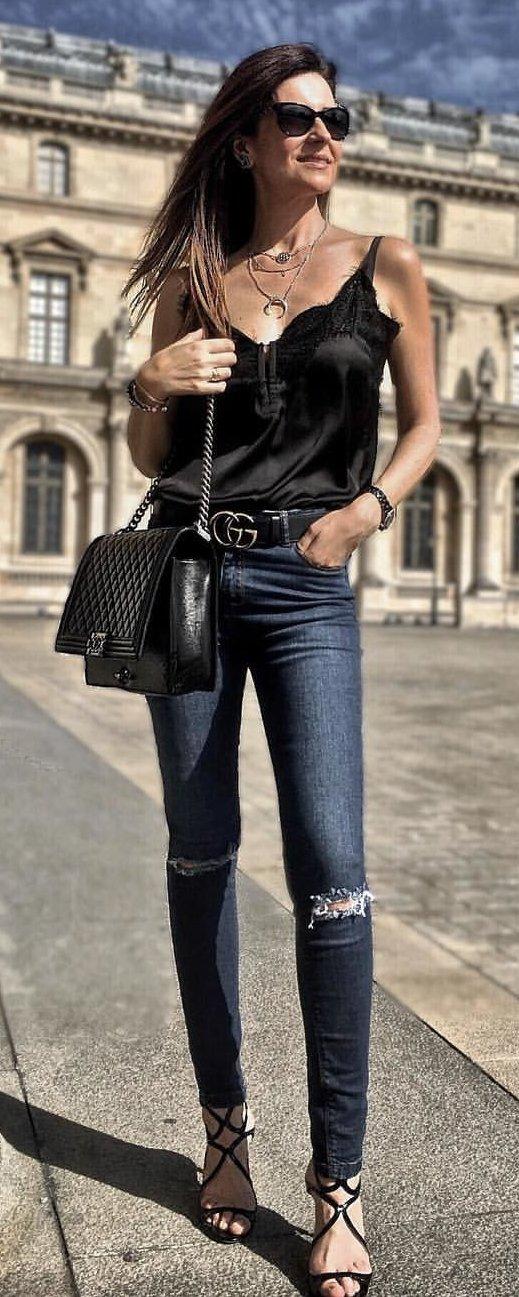 Black Tank + Ripped Skinny Jeans