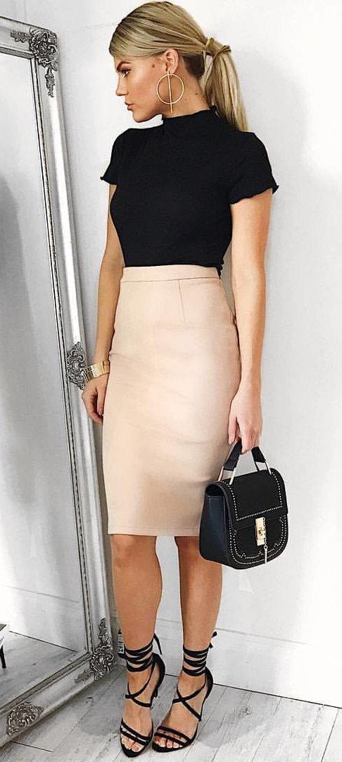 Black Top + Blush Pencil Skirt + Black Sandals