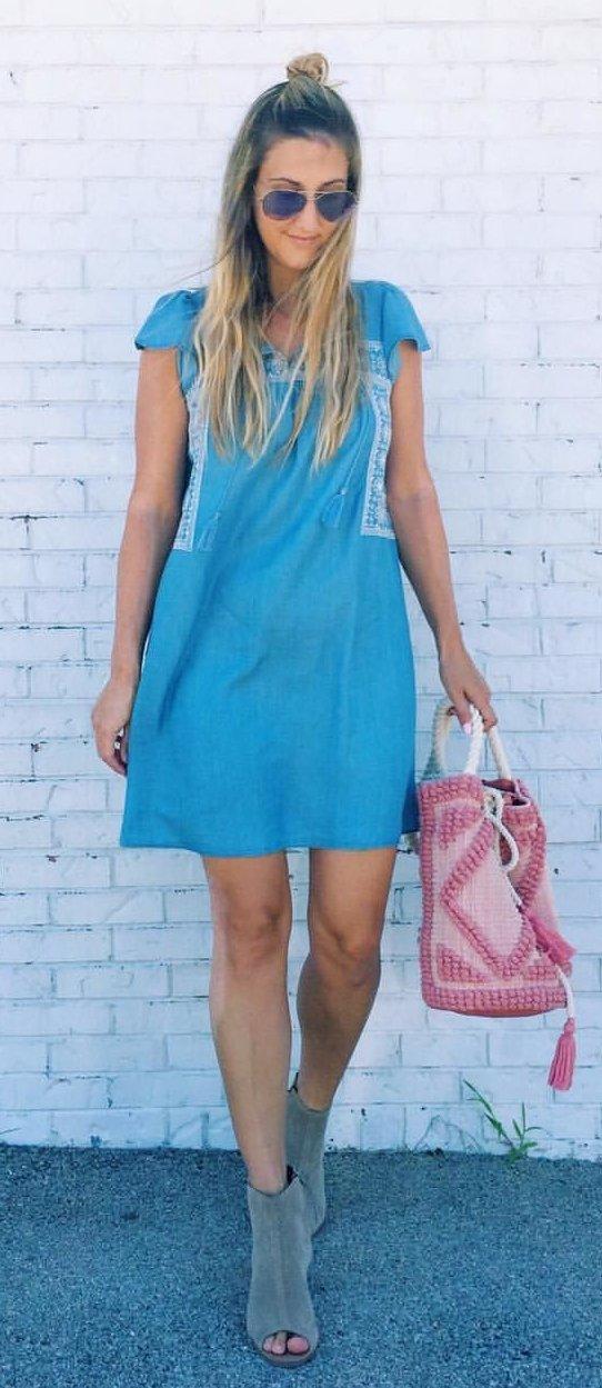 Blue Dress + Grey Open Toe Booties