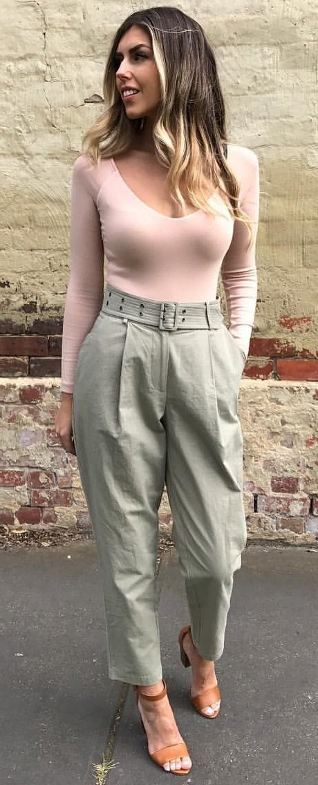 Blush Top + Khaki Pants