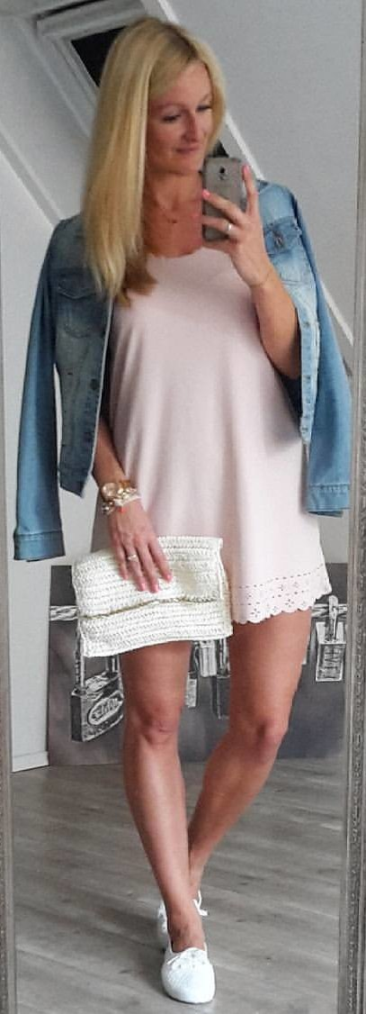 Denim Jacket + Blush Blush + White Pumps