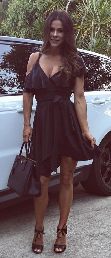 Little Black Cold Shoulder Dress + Black Sandals