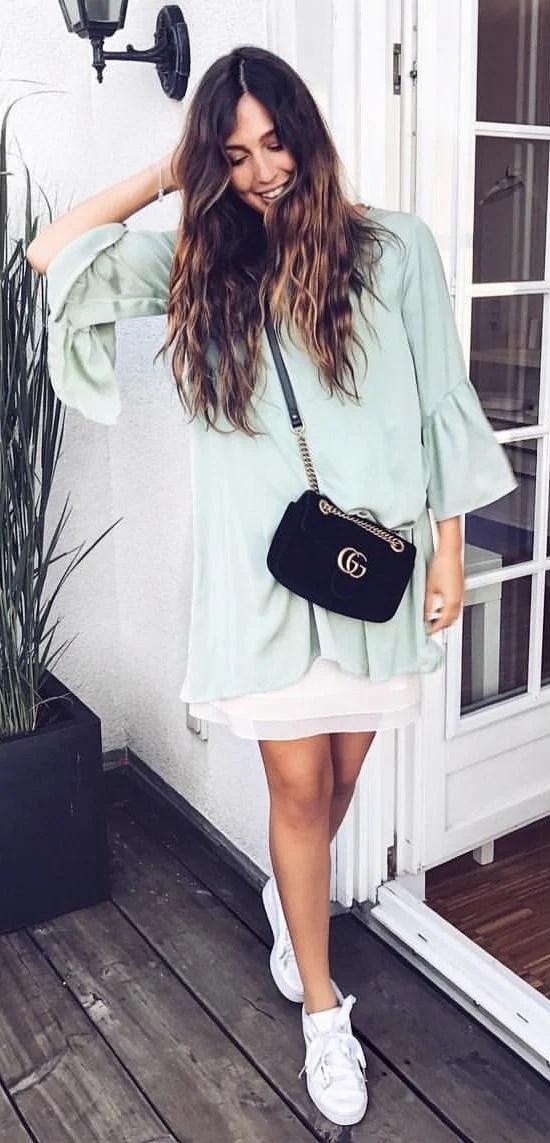 Mint Dress + White Sneakers + Black Shoulder Bag