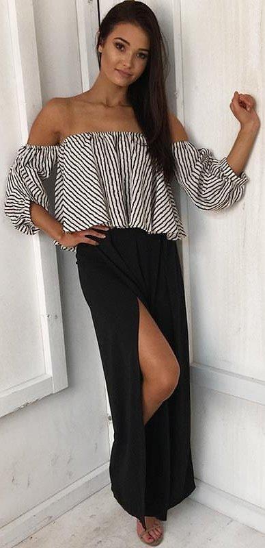 Monochrome Off The Shoulder Top + Black Split Maxi Skirt