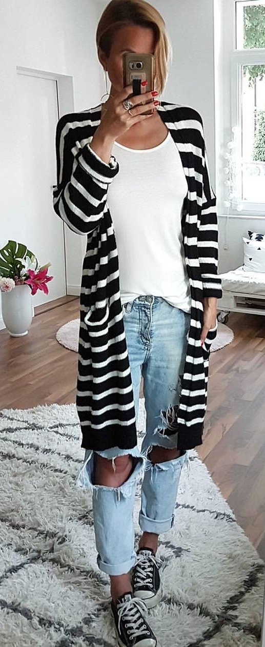 Monochrome Striped Cardigan + White Top + Destroyed Jeans