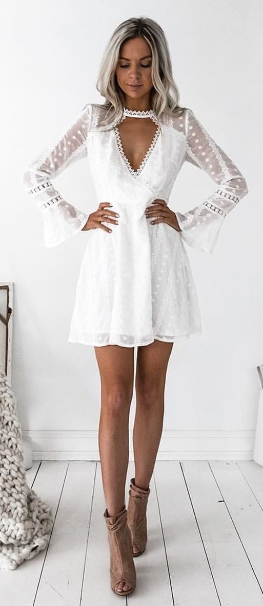 White Lace Dress + Camel Open Toe Booties