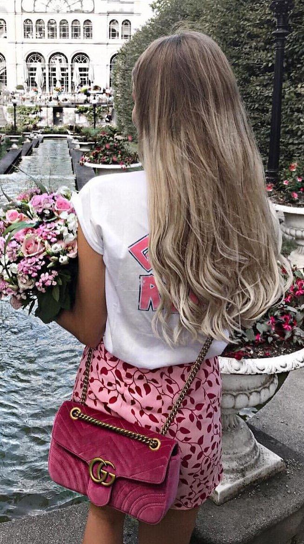 White Printed Tee + Pink Printed Short + Pink Shoulder Bag