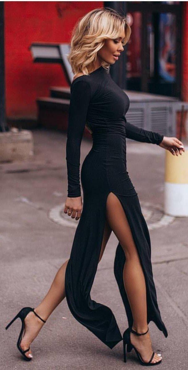women's black long sleeve dress