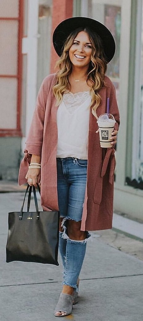 women's brown cardigan, white shirt, distress blue jeans and gray pep-toe shoes outfit