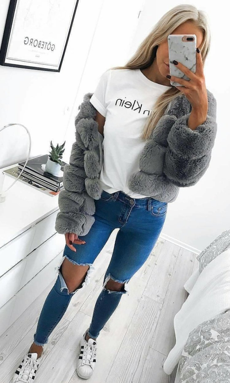 women's grey fur coat