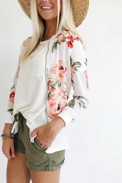 Floral print, Twill Hat and Shorts