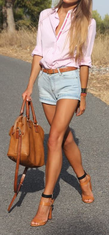 Pink + denim shorts