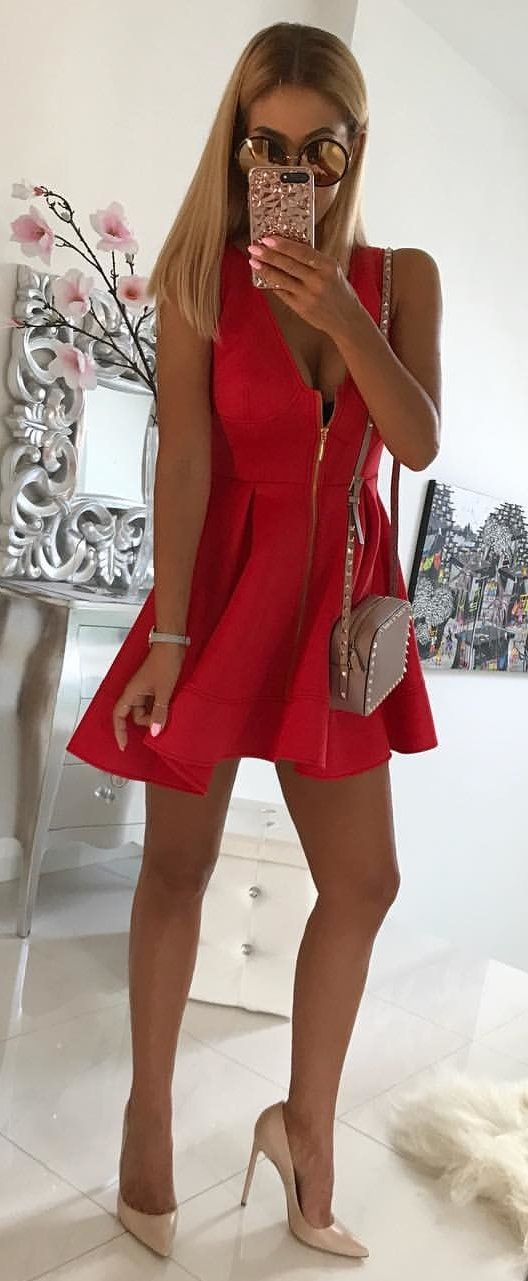 Women's red cocktail dress