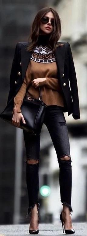 black distressed jeans; black leather pointed stilettos