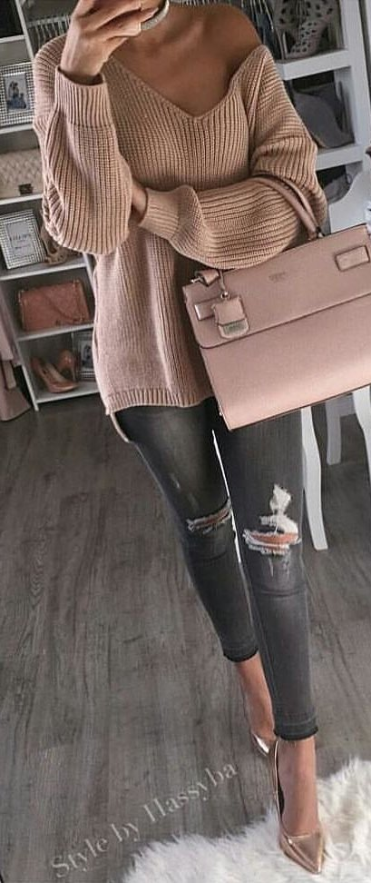brown cashmere v-neck sweater and black distressed jeans
