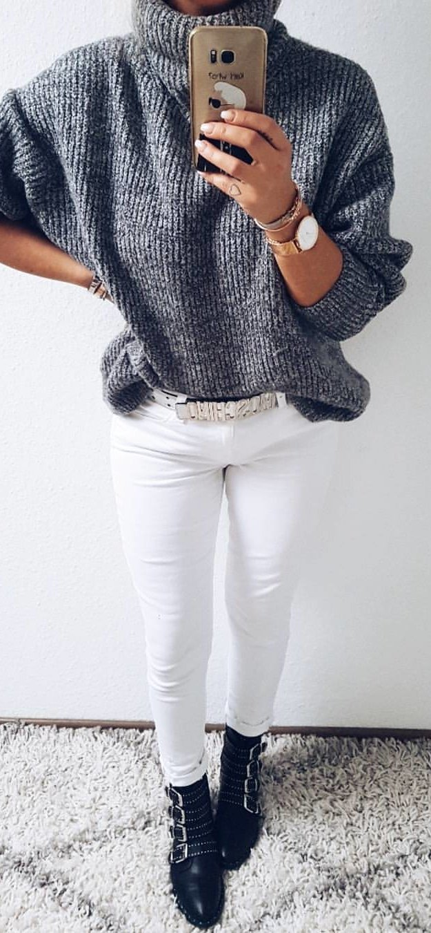 heather-gray cowl-neckline sweater and white pants