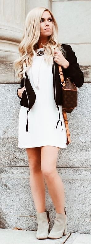 white bodycon dress with black cardigan