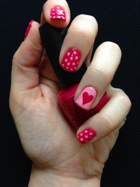 Cute simple Valentine's Day Nails.
