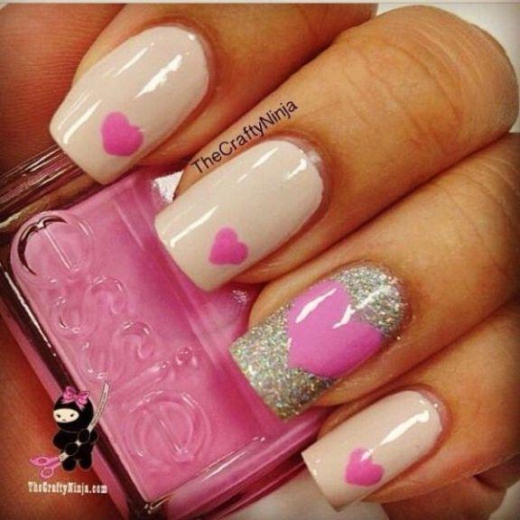 Pink Heart Nails.