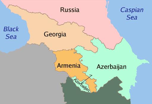Región del Cáucaso, compuesta por Rusia, Georgia, Armenia y Azerbaiyán