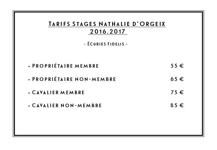 Tarifs stage d'Orgeix