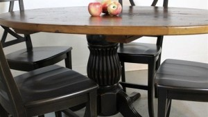 Round Kitchen Table With Black Fluted Pedestal