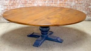 84 Round Oak Farm Table With Tuscany Pedestal