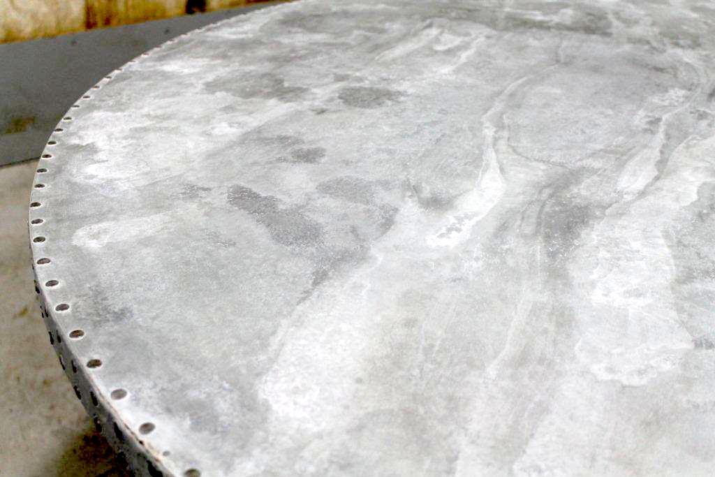 Round Zinc Table With Cast Iron Base ECustomFinishes