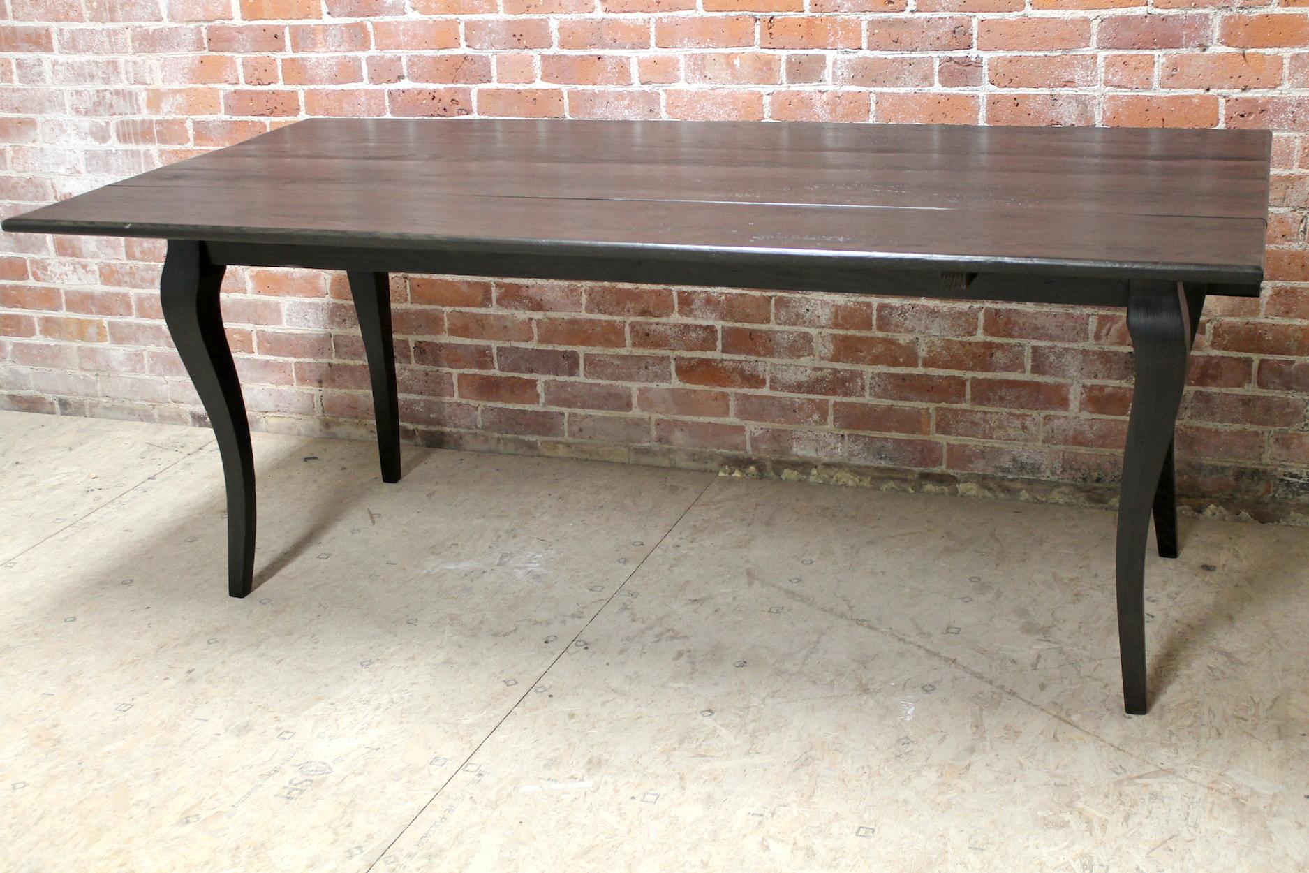 Reclaimed Oak Drop Leaf Table In Black Wash ECustomFinishes