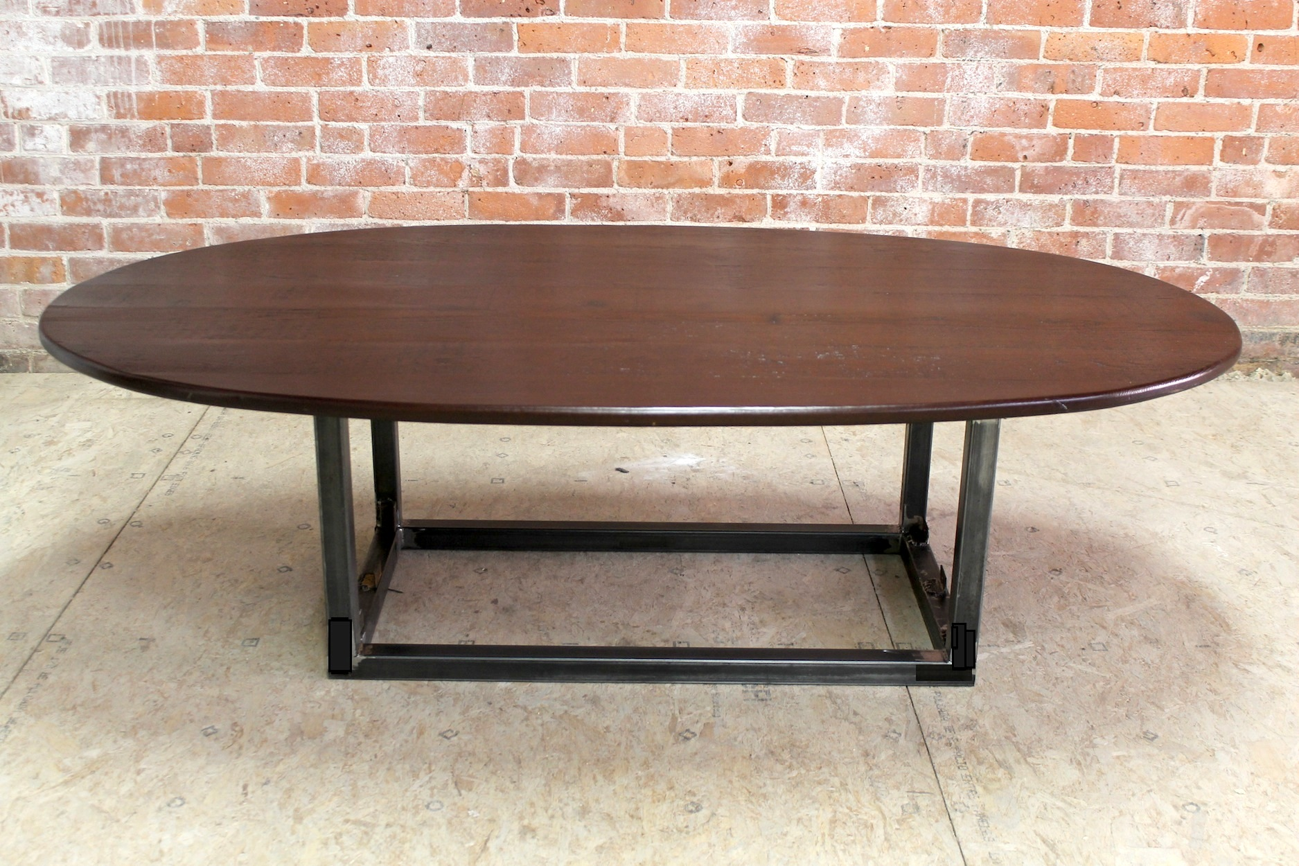 rustic oval coffee table with steel