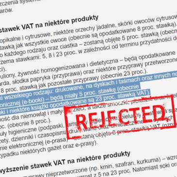 Podatkowej batalii ciąg dalszy – na niższy VAT na ebooki jeszcze poczekamy…