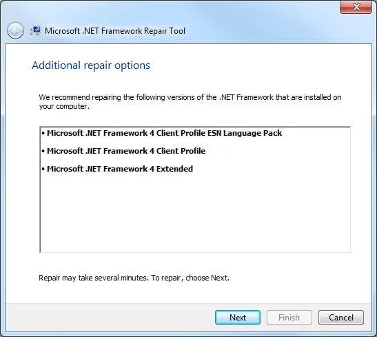 .Net Framework Repair Tool, reparaciones adicionales recomendadas