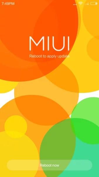 Proceso de actualización en MIUI