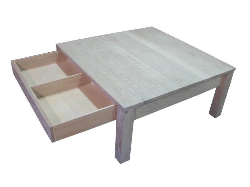 Stolik kawowy z szufladą z drewna dębowego
