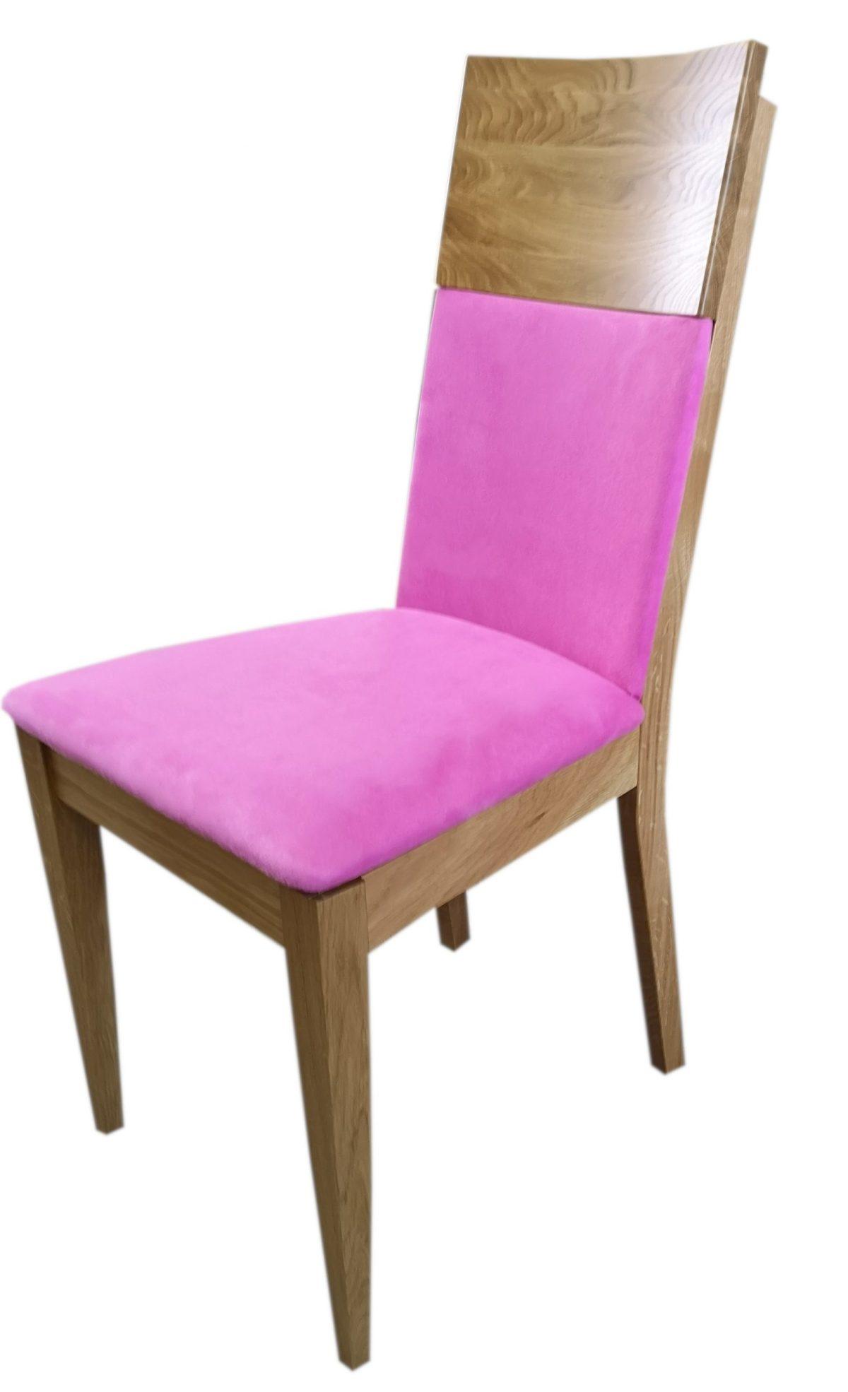 krzesło debowe różowe