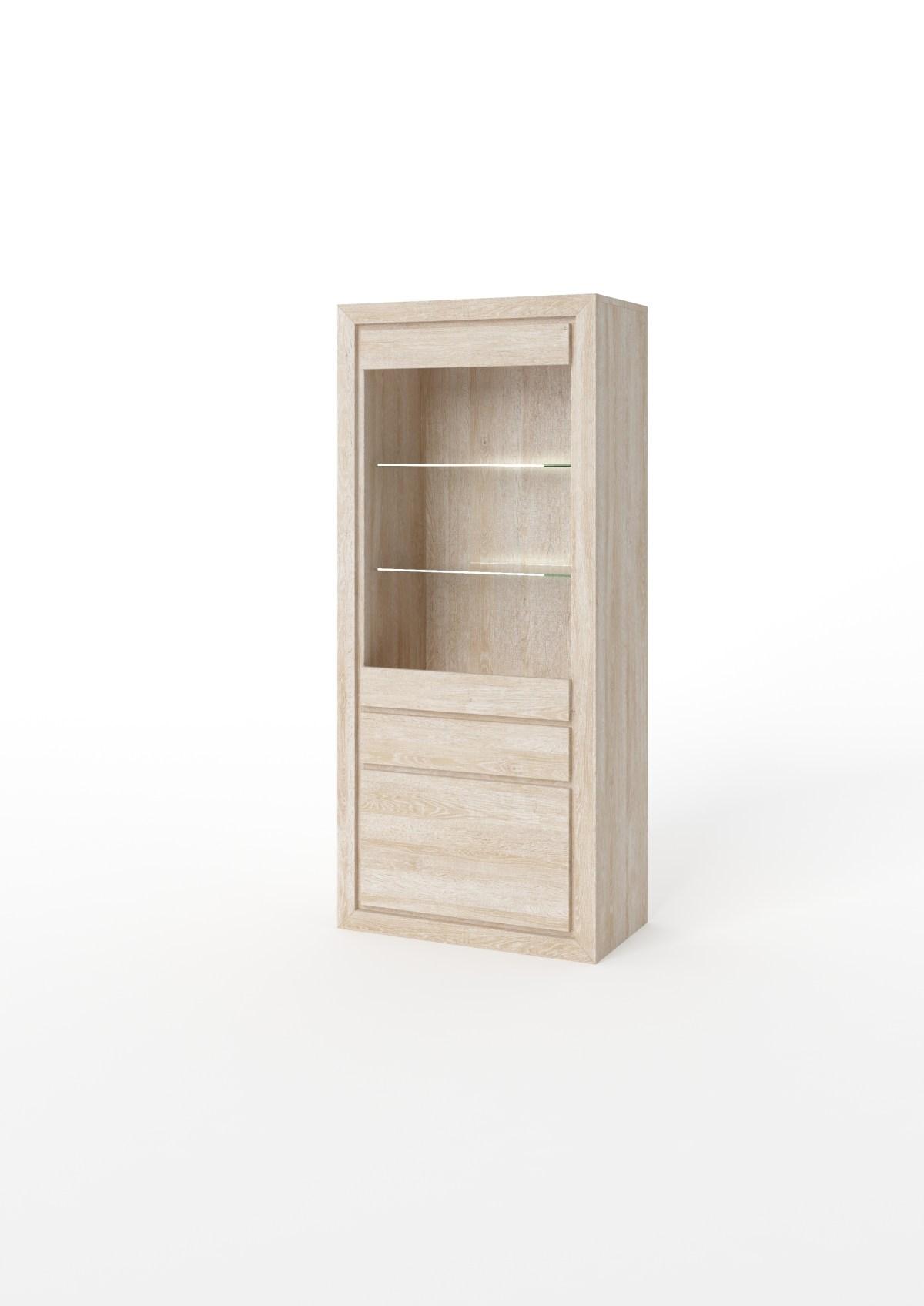 Witryna z drewna z szufladą