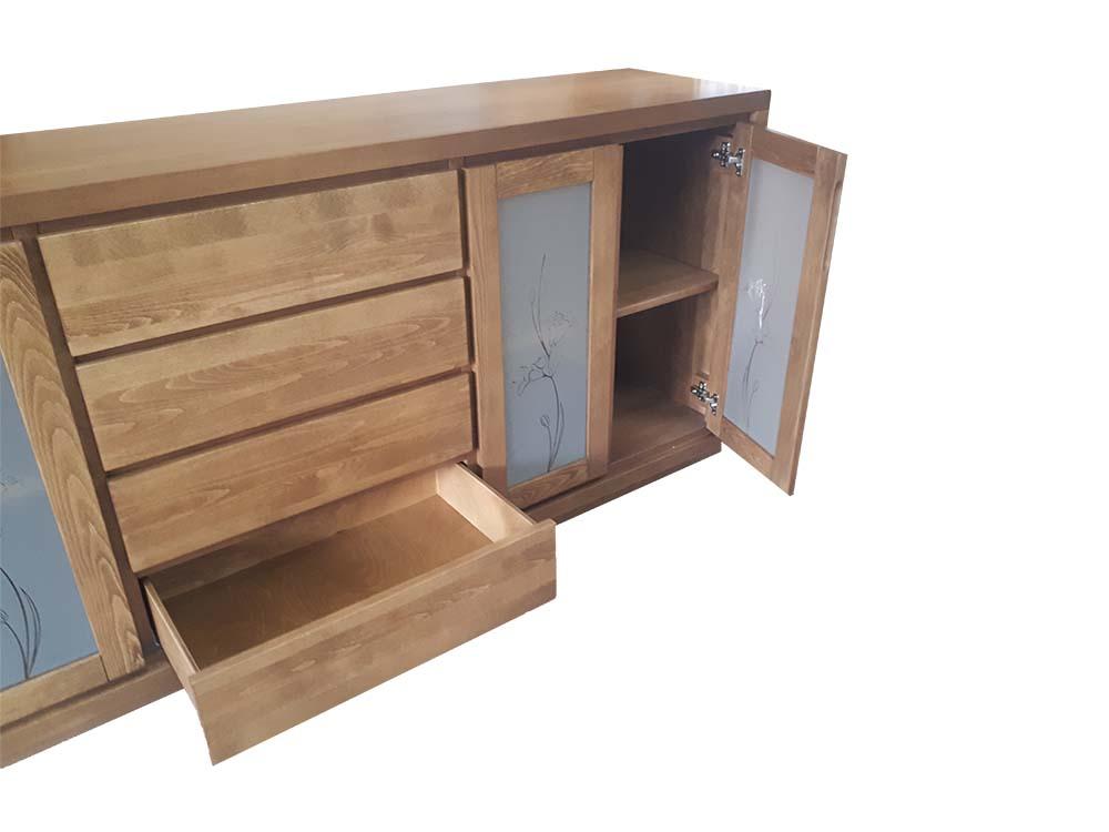 komoda drewniana bukowa Almera cztery szuflady i drzwi zaszklone