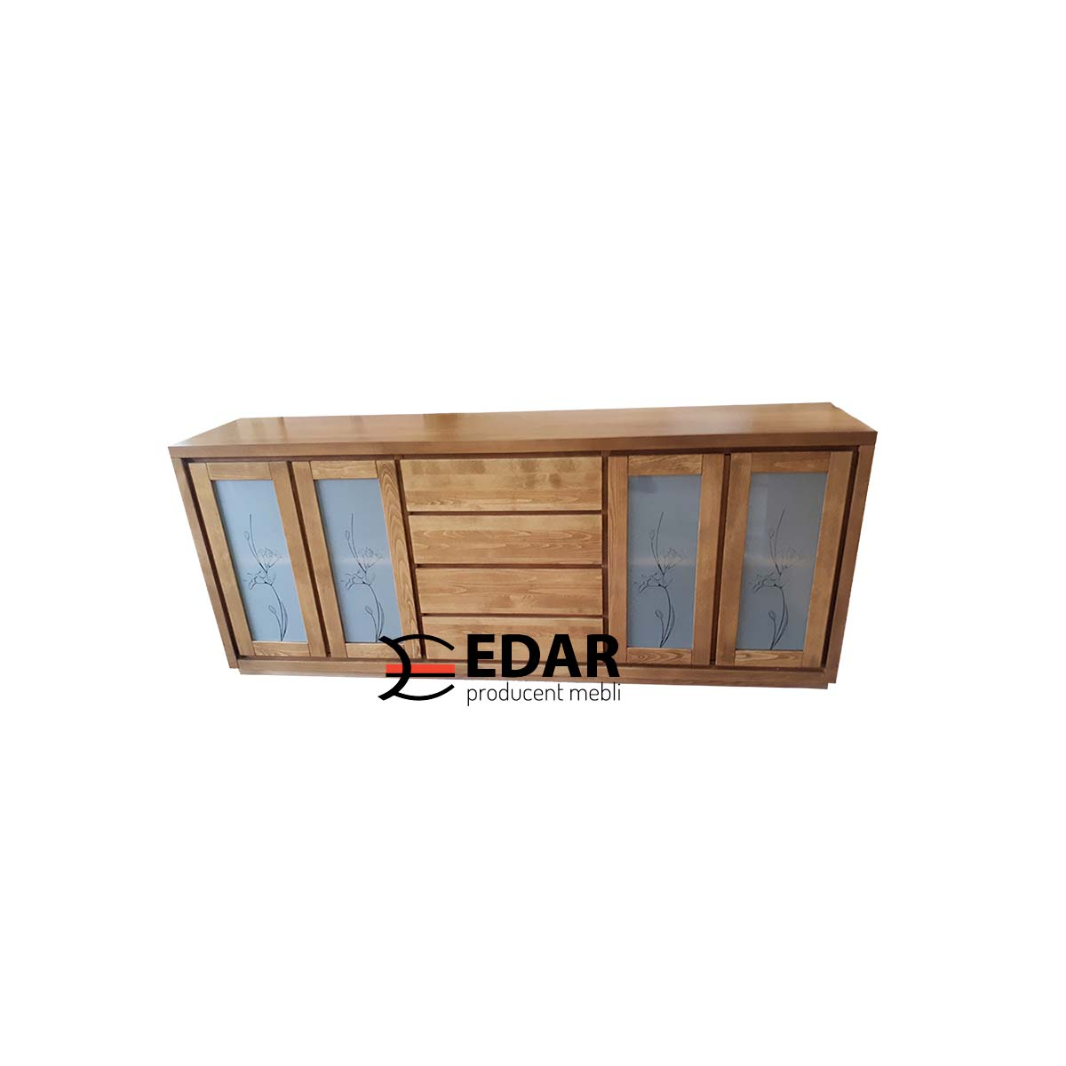 komoda drewniana bukowa Almera ze szkłem