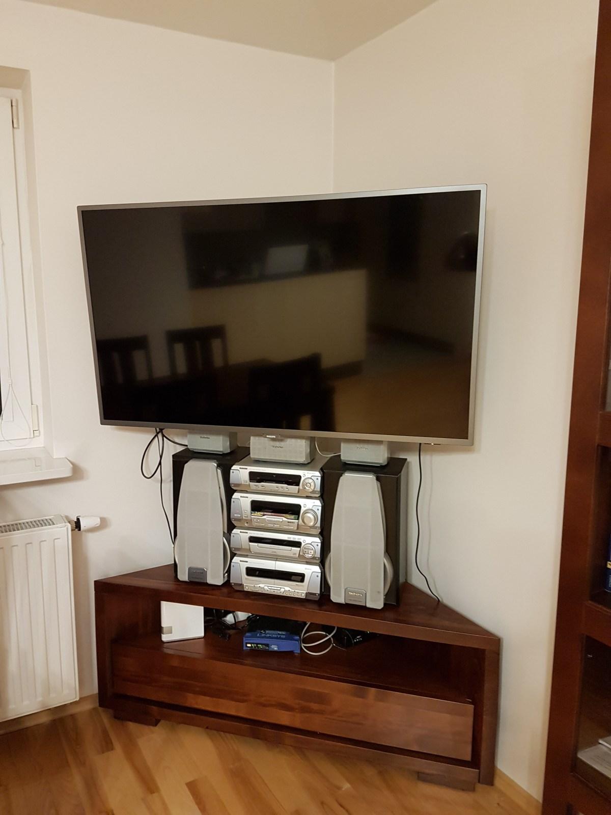 Komoda narożna z szufladą rtv pod telewizor bukowa